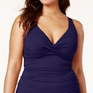 Anne Cole Navy Blue Tankini Swim Top Underwire 16W